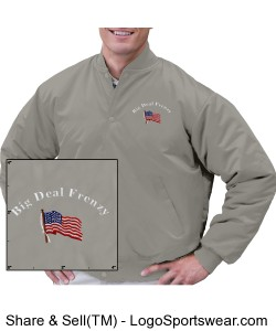 Adult Pro-Satin Baseball Jacket with Solid Trim and Flannel-Lining Design Zoom
